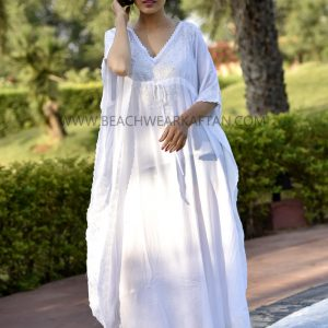 Beach Party Wear White Sexy Kaftan Dress