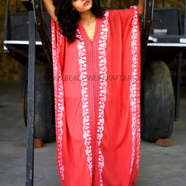 Hot Red Embroidered Beach Wear Kaftans Cover Ups