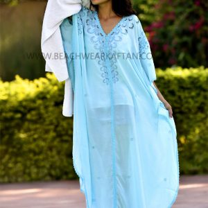 Sexy Beach Wear Aqua Blue Kaftan Dress