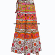 Girls Beachwear Cotton Block Print Wrap Skirt