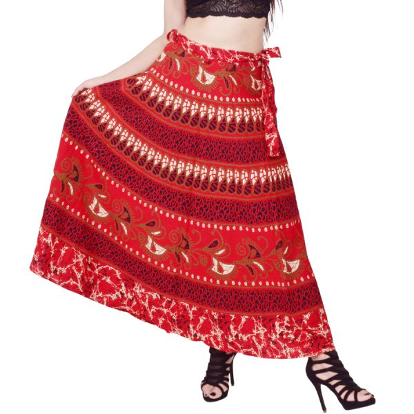 jaipuri printed cotton wrap skirt
