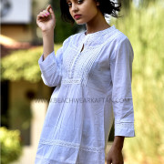 Women's Summer Tropical White Cotton Tunic