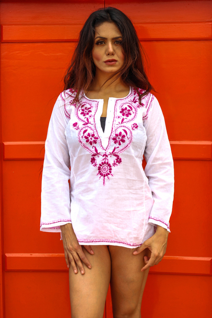Women's White Embroidered Short Tunic